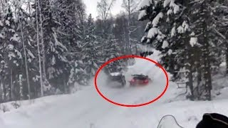 WRC Rally Sweden 2018 -  Tanak crashes into Meeke