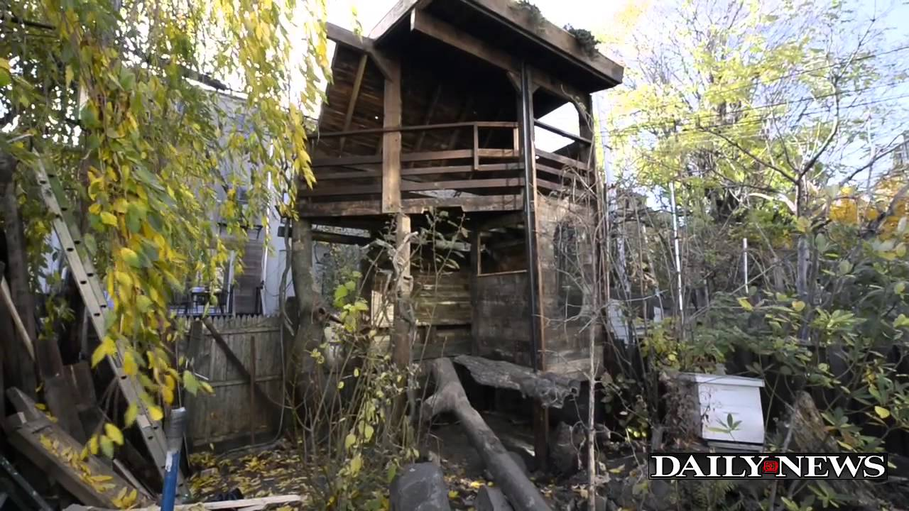Brooklyn man builds giant treehouse in yard - YouTube