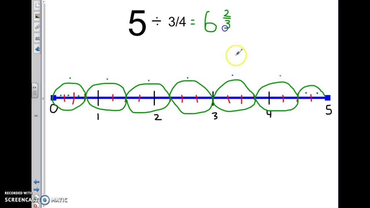 Dividing Fractions On A Number Line: Mixed Number Quotient Dividing  Fractions On A Number Line
