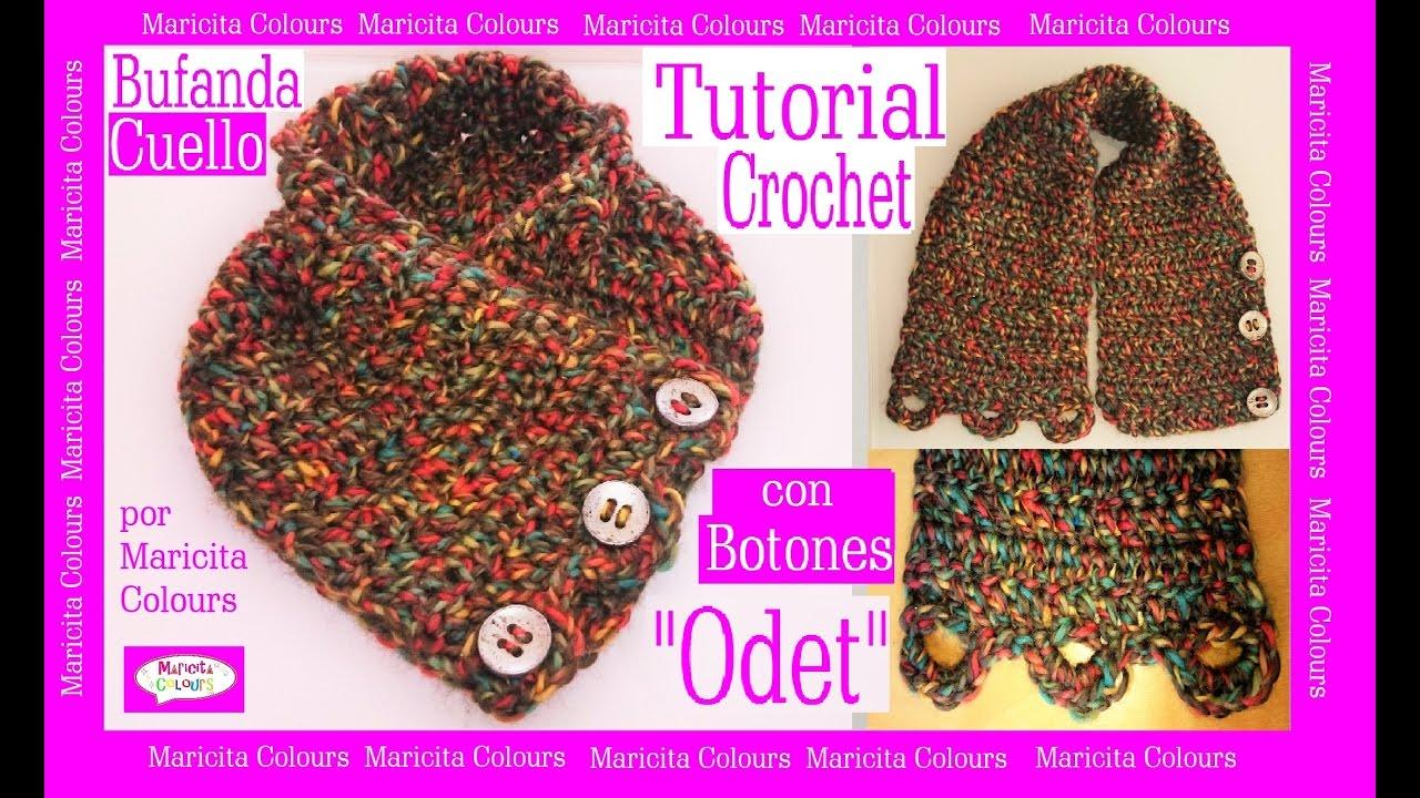 Cómo tejer Bufanda Cuello a Crochet con Botones \