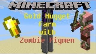 Automatic Gold Nugget Farm with Zombie Pigmen Minecraft Tutorial (Works in 1.8)