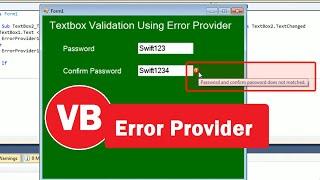 Validation Using ErrorProvider in vb | Password Validation | TextBox Validation