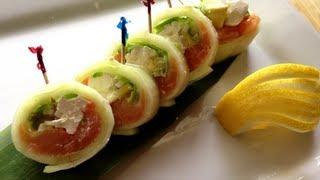 sushi cucumber wrap philadelphia roll [no rice no seaweet]recipe