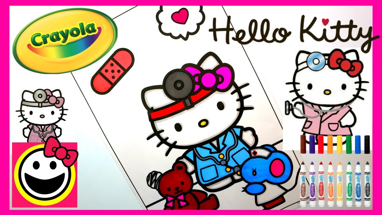 Hello kitty playing doctor crayola coloring pages speed coloring cutiepietoysurprise