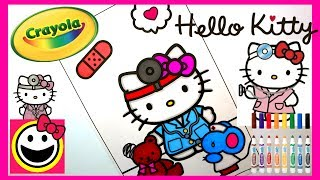 HELLO KITTY playing DOCTOR! | Crayola Coloring Pages | SPEED COLORING | CutiePieToySurprise