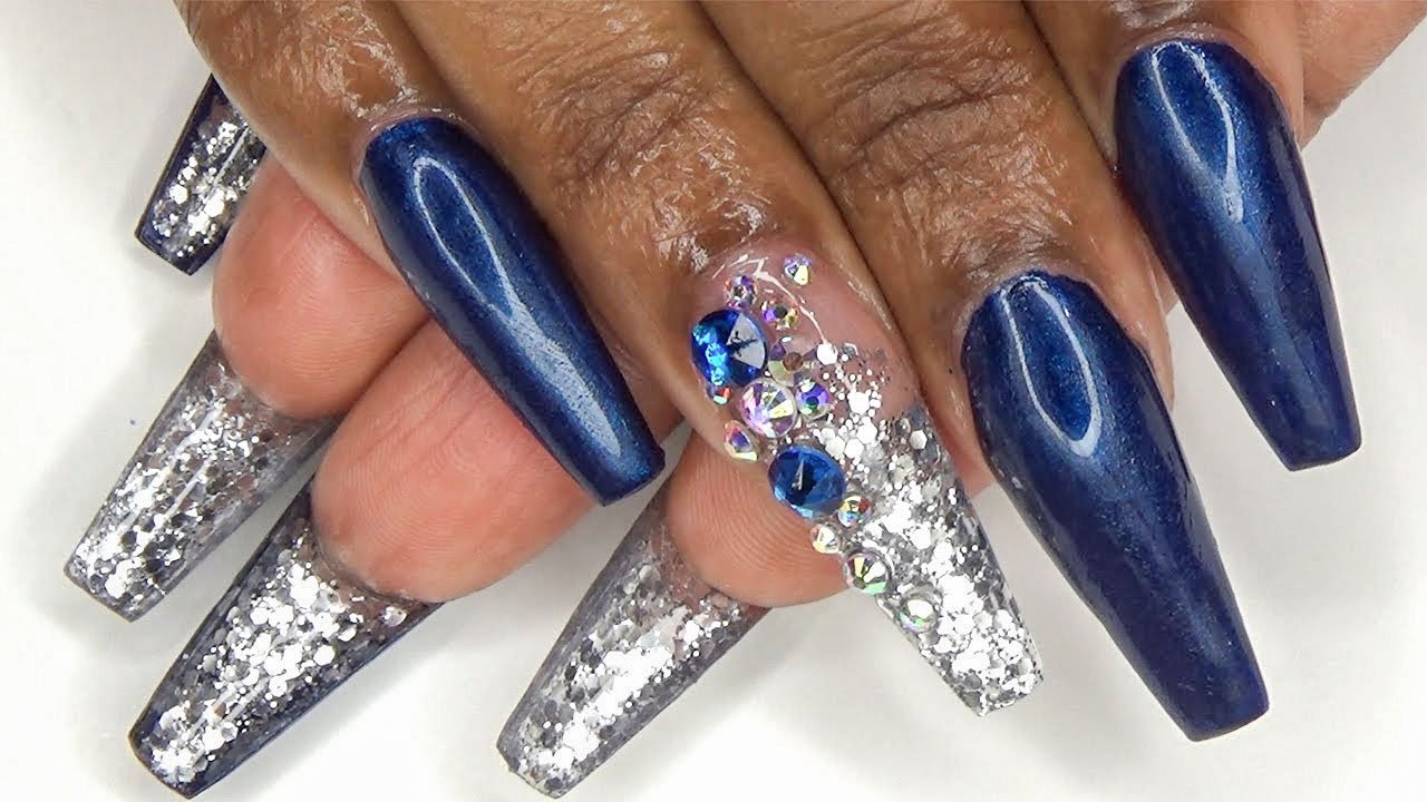 Navy Blue and Silver Glitter Bottom Nails |Full Set Sculptured ...