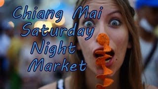 Eating Thai street food at the Chiang Mai Saturday Night Market Walking Street on Wua Lai Road