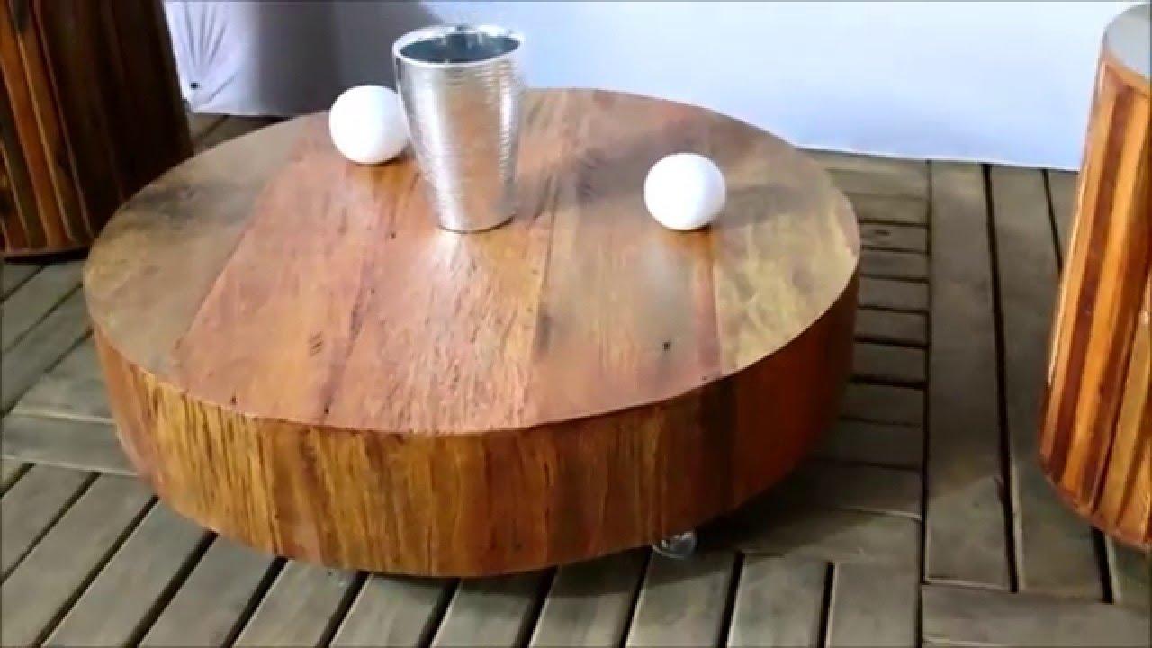 Madeira de demoli o mesa de centro redonda 0 8m youtube - Mesa centro redonda ...
