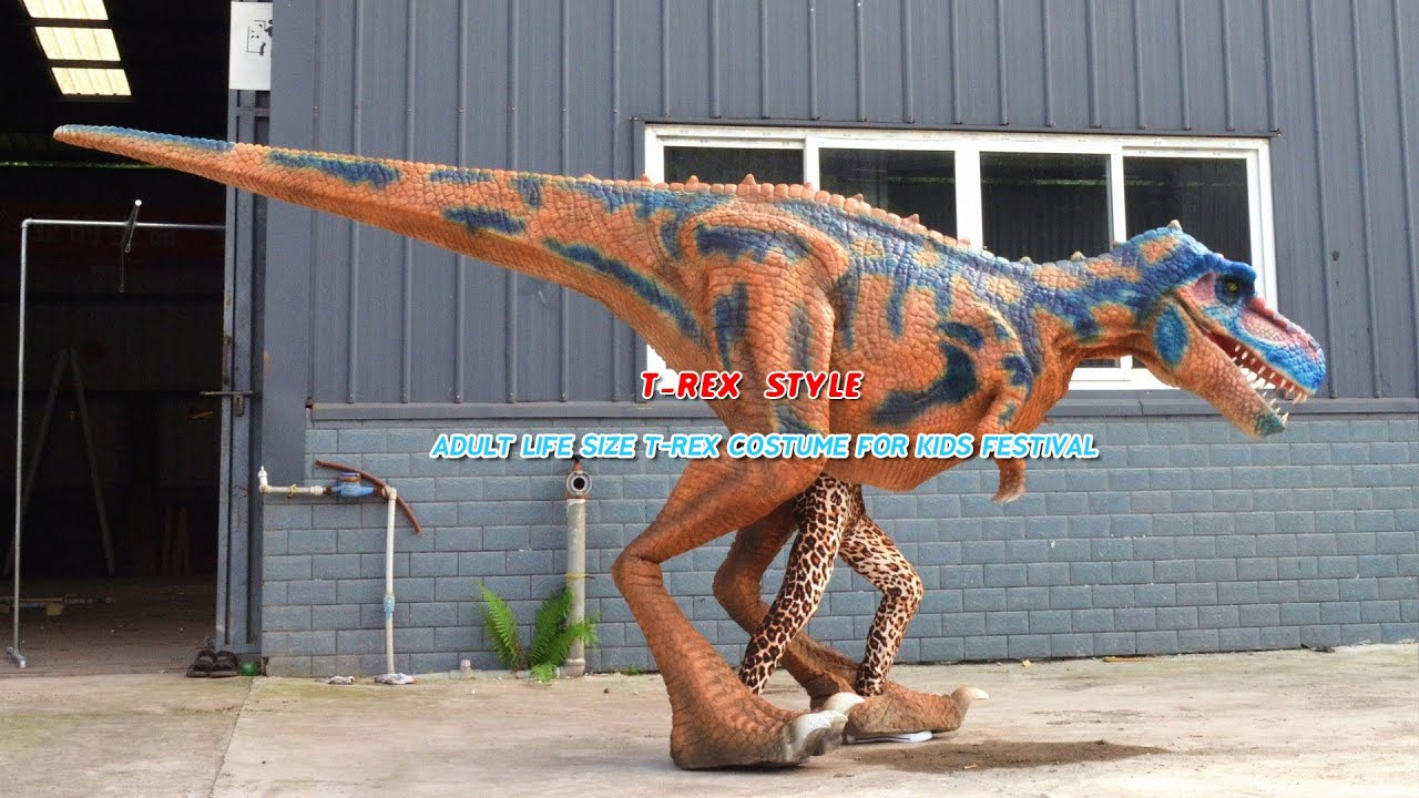 Adult life size T-Rex costume for kids festival & Adult life size T-Rex costume for kids festival - YouTube