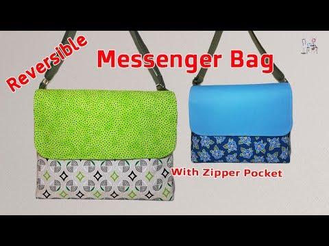 DIY MESSENGER BAG   CROSSBODY BAG TUTORIAL   REVERSIBLE BAG TUTORIAL   BAG MAKING