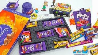 lot's of candies, kinder joy, lickables, gems bus, new surprise eggs and  more unboxing thumbnail
