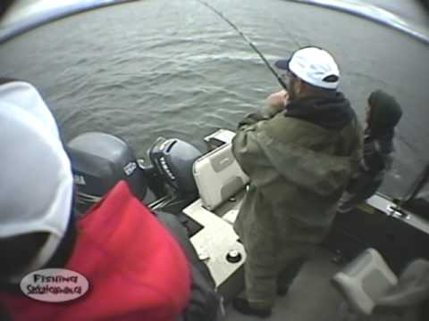 Summer Lake Trout excitement on Hunter Bay on Fishing Saskatchewan