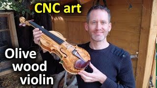 CNC carving a violin out of olive wood with the Shapeoko XXL