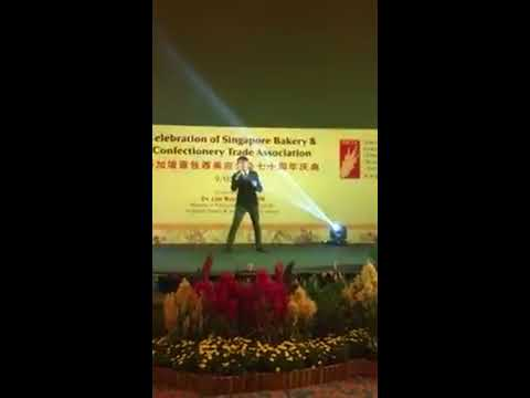 Chef Zach singing for Singapore Bakery Association 70th Anniversary