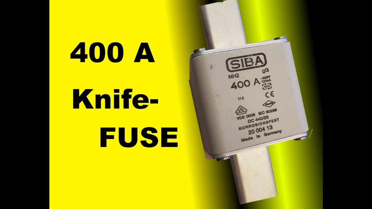 showcase siba 400 a amp knife fuse melting fuse youtube rh youtube com Truck Fuses J Case Fuse