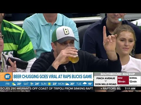 Beer chugging goes viral at Raps VS Bucks game