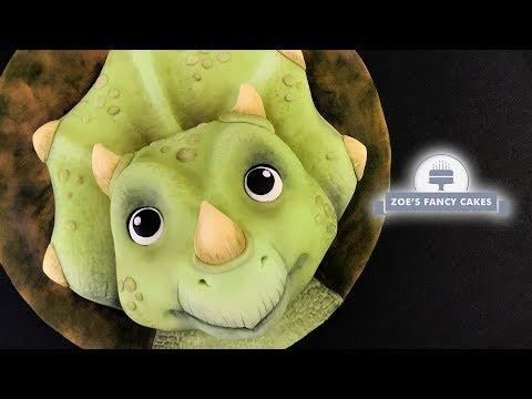 Triceratops dinosaur cake tutorial, birthday cake ideas
