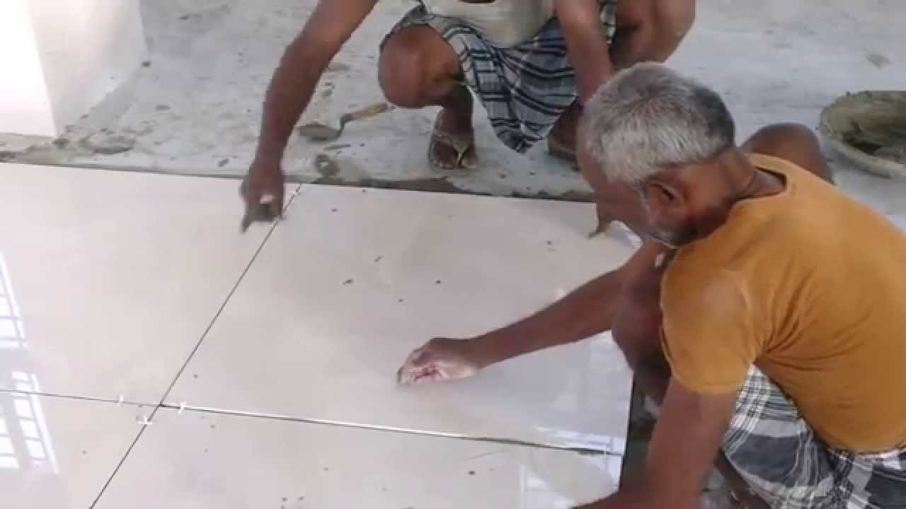 Bathroom Tiles Rate kajaria 800x800 tiles laying with spacer - youtube