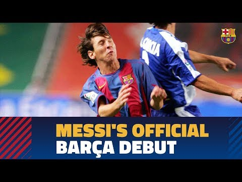 Leo Messi's official debut against Espanyol