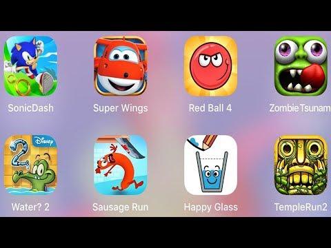 Temple Run 2,Water 2,Sausage Run,Red Ball 4,Sonic Dash,Super Wings Run,Zombie Tsunami,Happy Glass