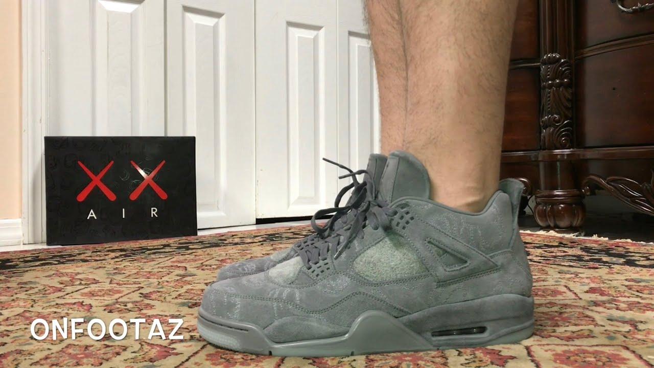 Air Jordan 4 IV Kaws Grey On Foot - YouTube