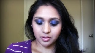 Glam & Sexy Night Time Look | Sapphire Blue Smokey Eyes Makeup