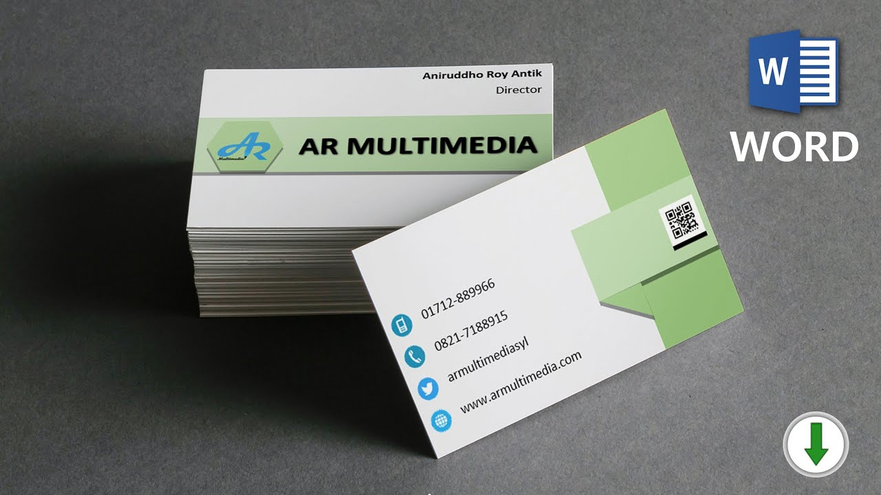 MS Word Tutorial: Name Cards MS Word 21 Double Sided Business Card  Template Word [AR MULTIMEDIA] Within 2 Sided Business Card Template Word