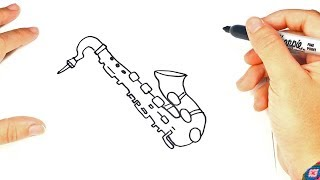 How to draw a Saxophone | Saxophone Easy Draw Tutorial