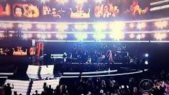Christina falls at Grammys