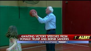 Sanders Shoots Hoops After NH Win