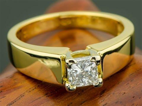 Золотое кольцо с бриллиантом 1.01 карат Принцесса - YouTube