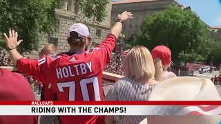 ABC7 News rides with the Stanley Cup champion Caps on parade bus