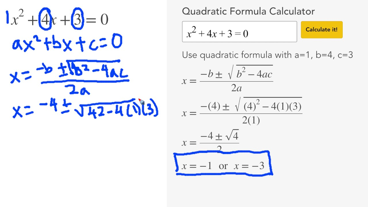 Quadratic Formula Calculator - MathPapa