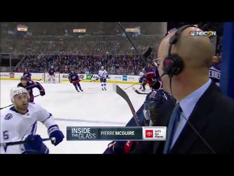Chuck and Kelly - Close Call! Hockey Puck Barely Misses Commentator's Face