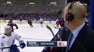 Flying puck almost hits NHL commentator in the head