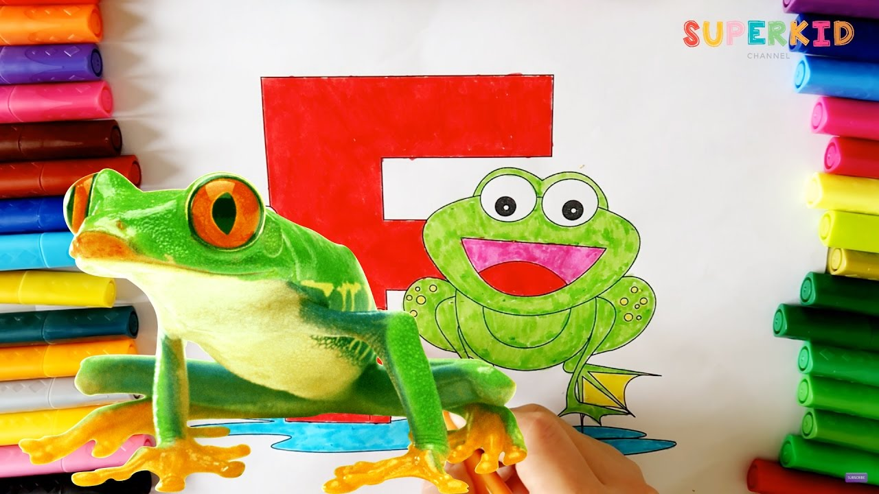 Coloring Letter F and a Green Frog - Alphabet and Frog coloring page ...