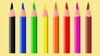 Aprender as cores com lápis colorido do material escolar