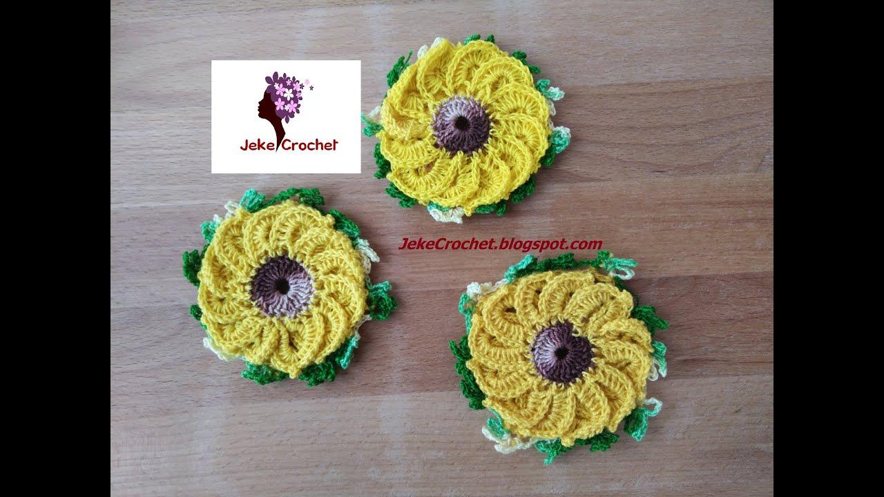 Girasoles a Crochet - Ganchillo - YouTube