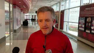 Mark Johnson reacts to announcement that his jersey will be retired by the Wisconsin Badgers
