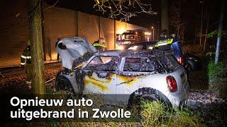 Autobrand op parkeerplaats bij Aldi Rijnlaan Zwolle - ©StefanVerkerk.nl