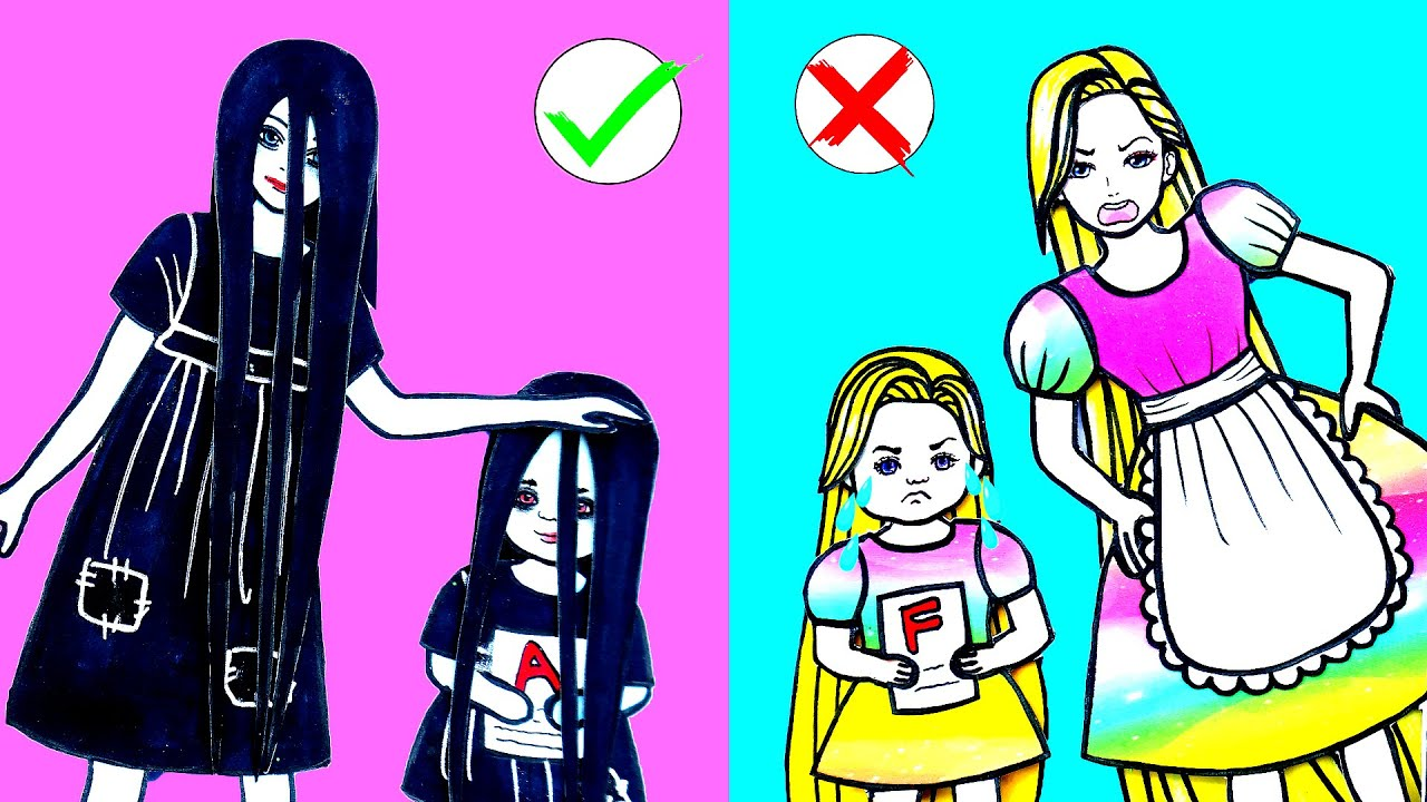 Paper Dolls Dress Up - Rapunzel & Sadako Mother and Daughter Family Costumes - Barbie Story & Crafts