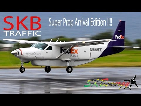 Super Small Prop Arrival Edition !!! Cessna 402C, Cessna 208B, Piper Aztec...@ St. Kitts Airport