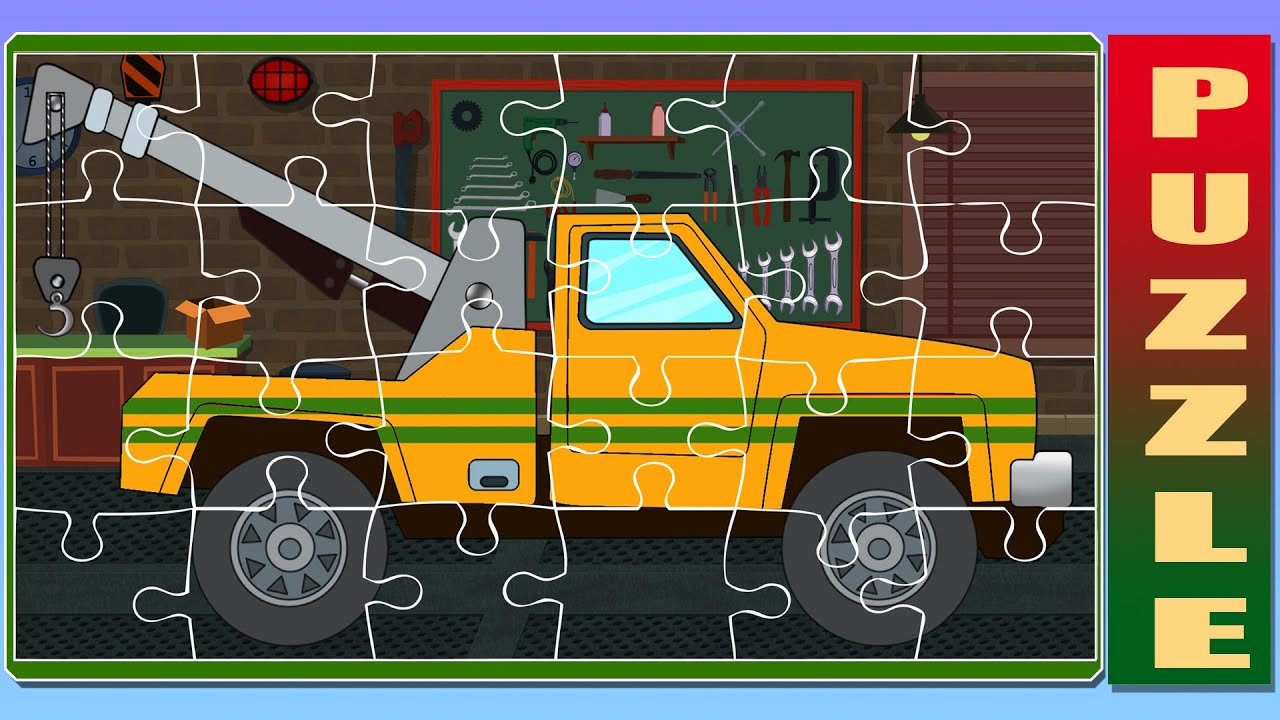puzzle tow truck game for children youtube. Black Bedroom Furniture Sets. Home Design Ideas