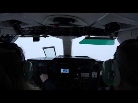 Female Pilot is making a full IFR Approach to Kirkwall Airport with Islander, Logan Air