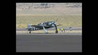 Fw190 A-9 taxi, take off, flyby and landing @ Reno air races 2010