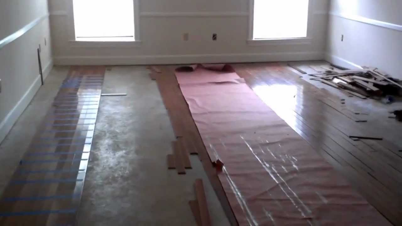 Hardwood floors over concrete floors diy youtube dailygadgetfo Image collections