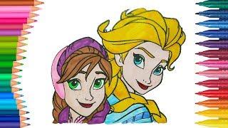 Frozen Anna ve Elsa Boyama Sayfası ile Renkleri Öğreniyorum | Minik Eller Boyama Kitabı