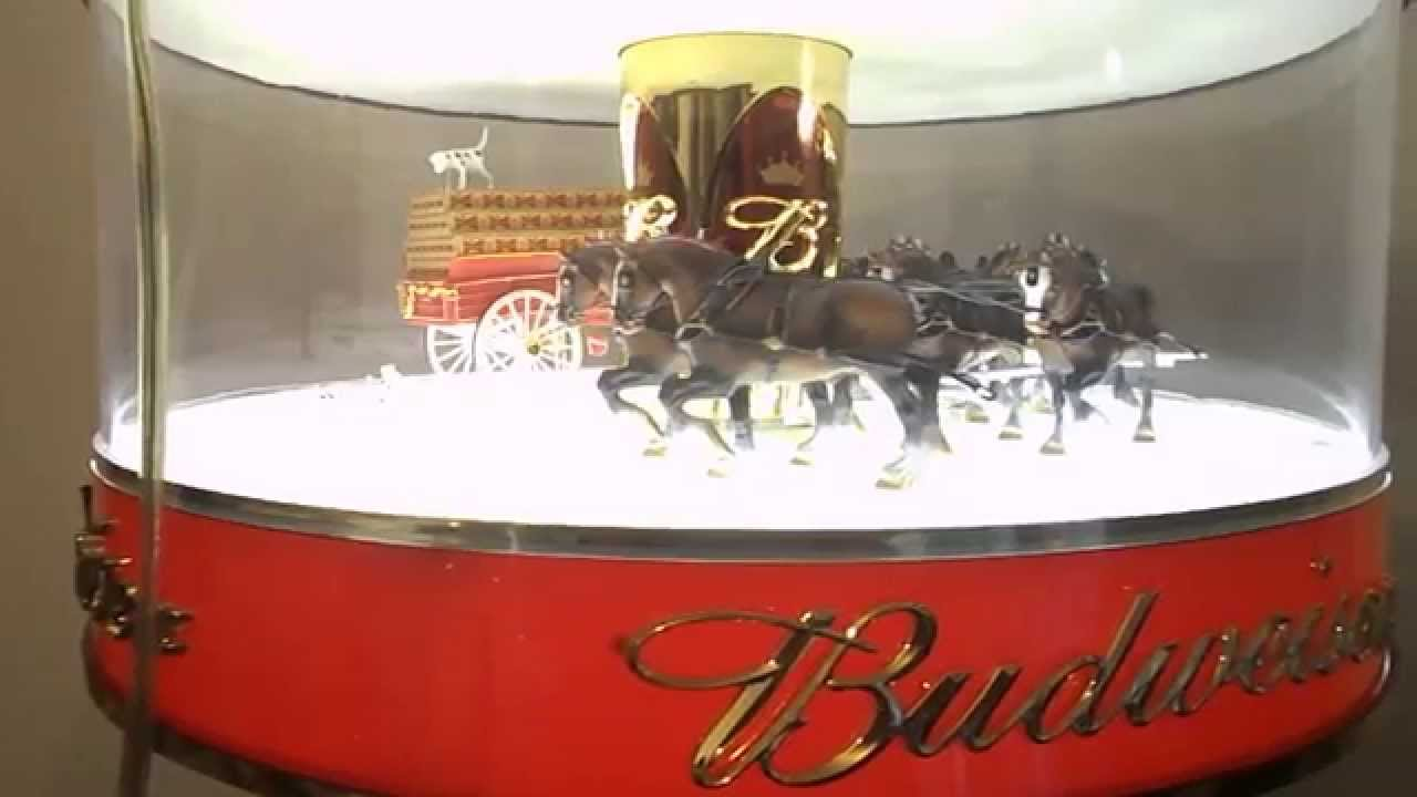 BUDWEISER BEER SPINNING GLOBE CLYDESDALE CAROUSEL LIGHT VINTAGE ...