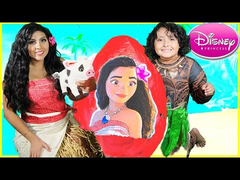 Thumbnail: DISNEY Princess Moana Movie IRL GIANT Egg Surprise Toys Maui pua kids video trailer doll elsa