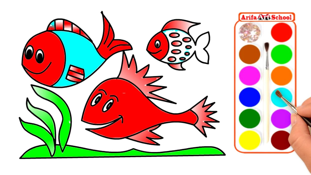 How to Drawing Fish & Coloring Pages for Kids. Coloring Page Cute ...